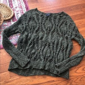 American eagle green peacock knit sheer sweater